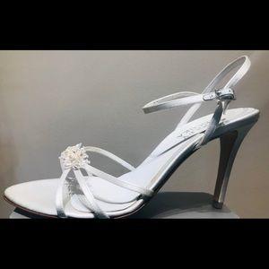 White satin hi heel sandal